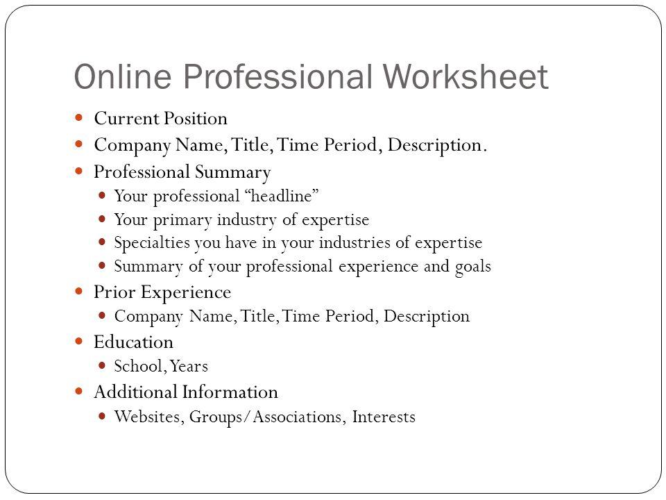 Online Professional Worksheet