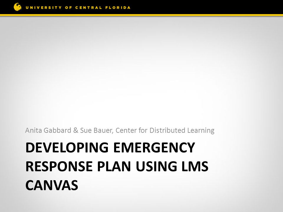 Developing Emergency Response Plan using LMS Canvas