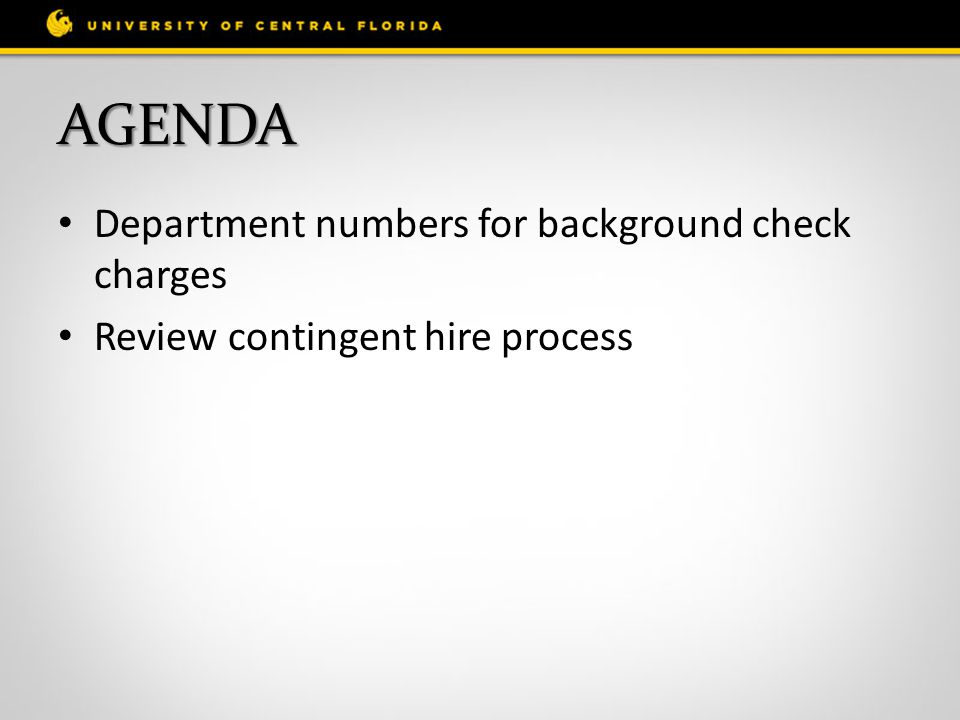 Agenda Department numbers for background check charges