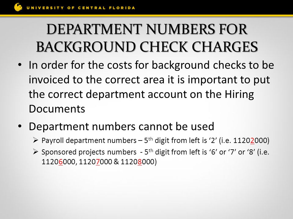 DEPARTMENT NUMBERS FOR BACKGROUND CHECK CHARGES