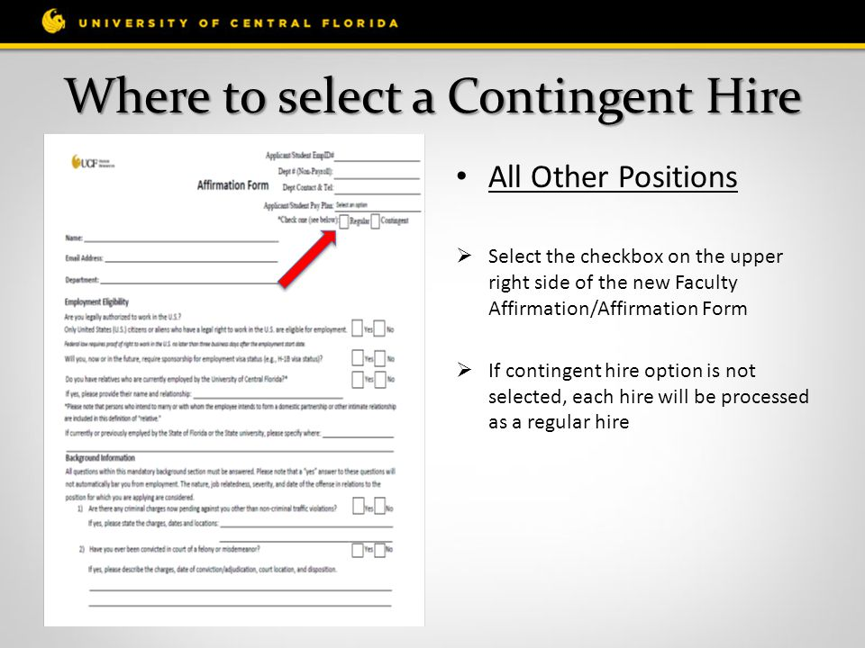 Where to select a Contingent Hire