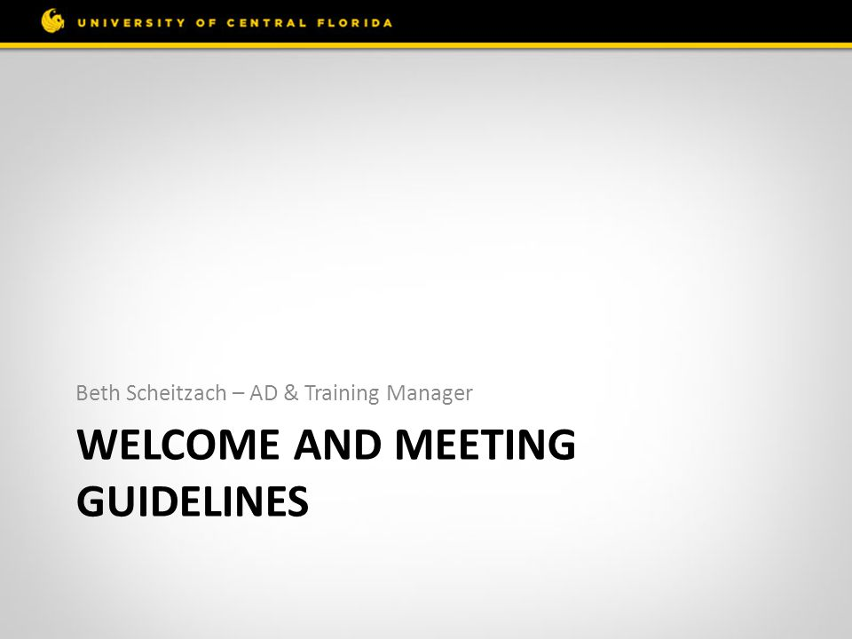 Welcome and Meeting Guidelines