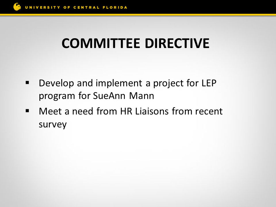 Committee directive Develop and implement a project for LEP program for SueAnn Mann.