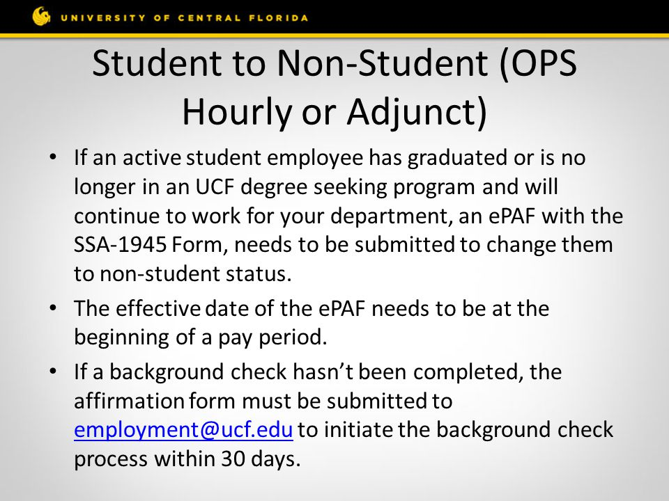 Student to Non-Student (OPS Hourly or Adjunct)