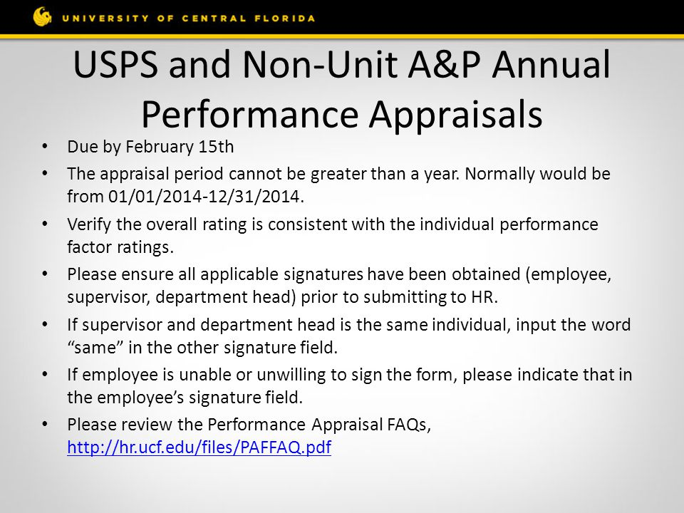 USPS and Non-Unit A&P Annual Performance Appraisals