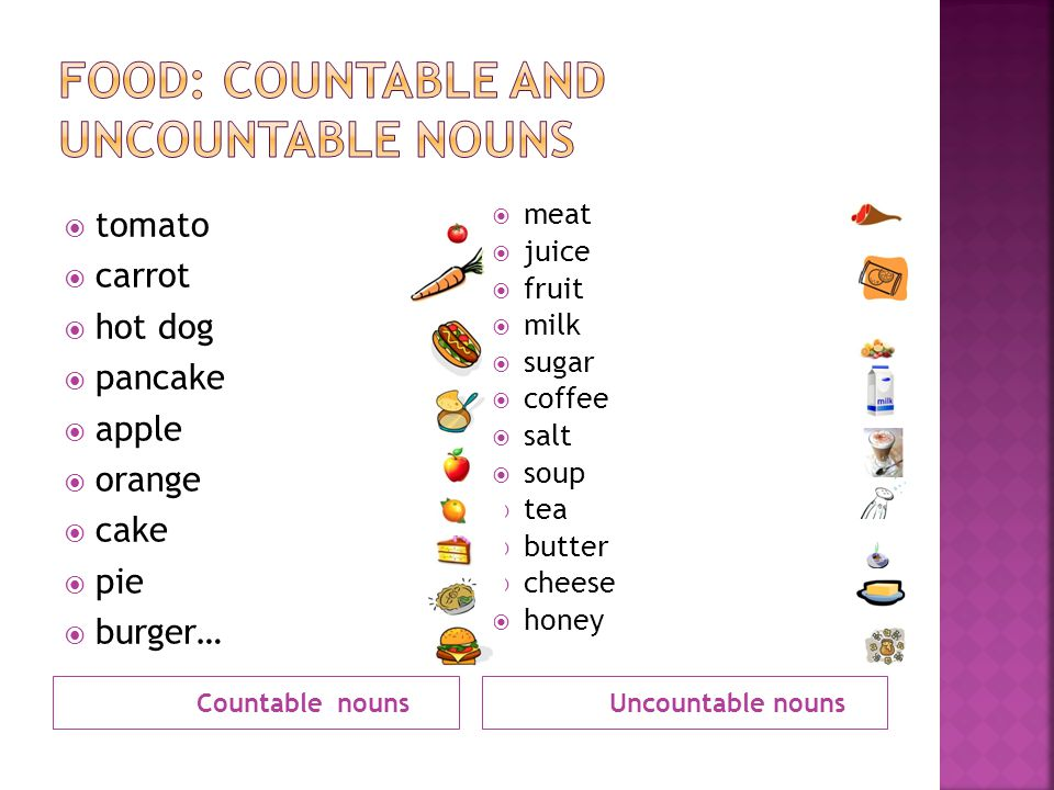 FOOD: Countable and Uncountable Nouns