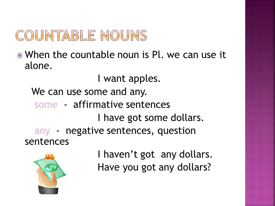 Countable nouns When the countable noun is Pl. we can use it alone.