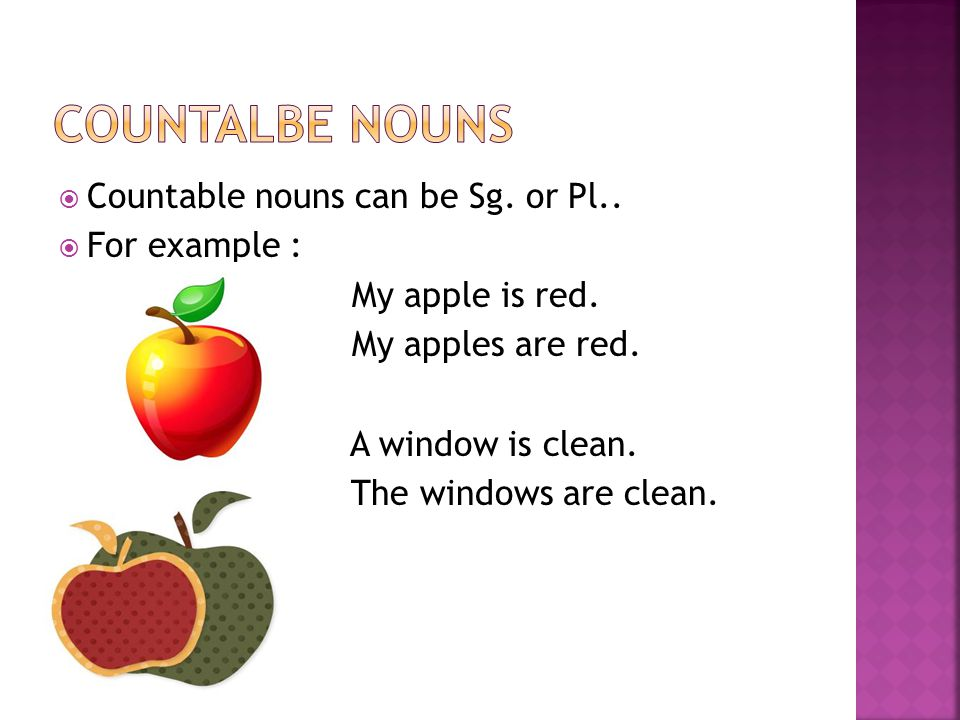 Countalbe nouns Countable nouns can be Sg. or Pl.. For example :