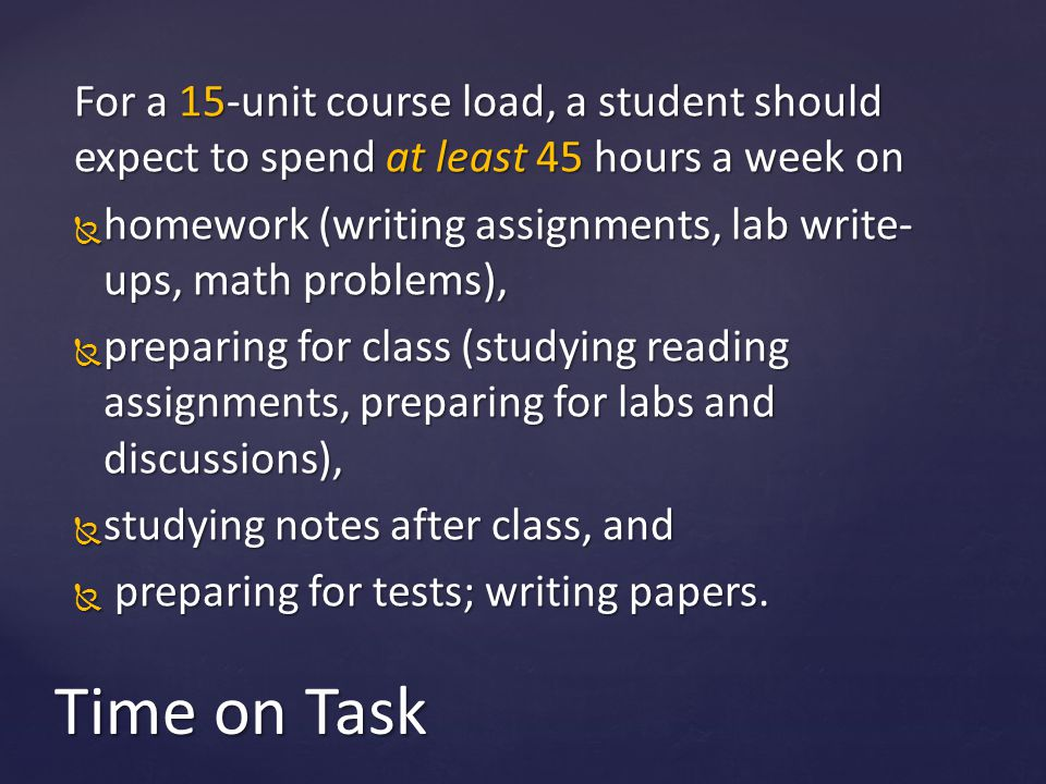 For a 15-unit course load, a student should expect to spend at least 45 hours a week on