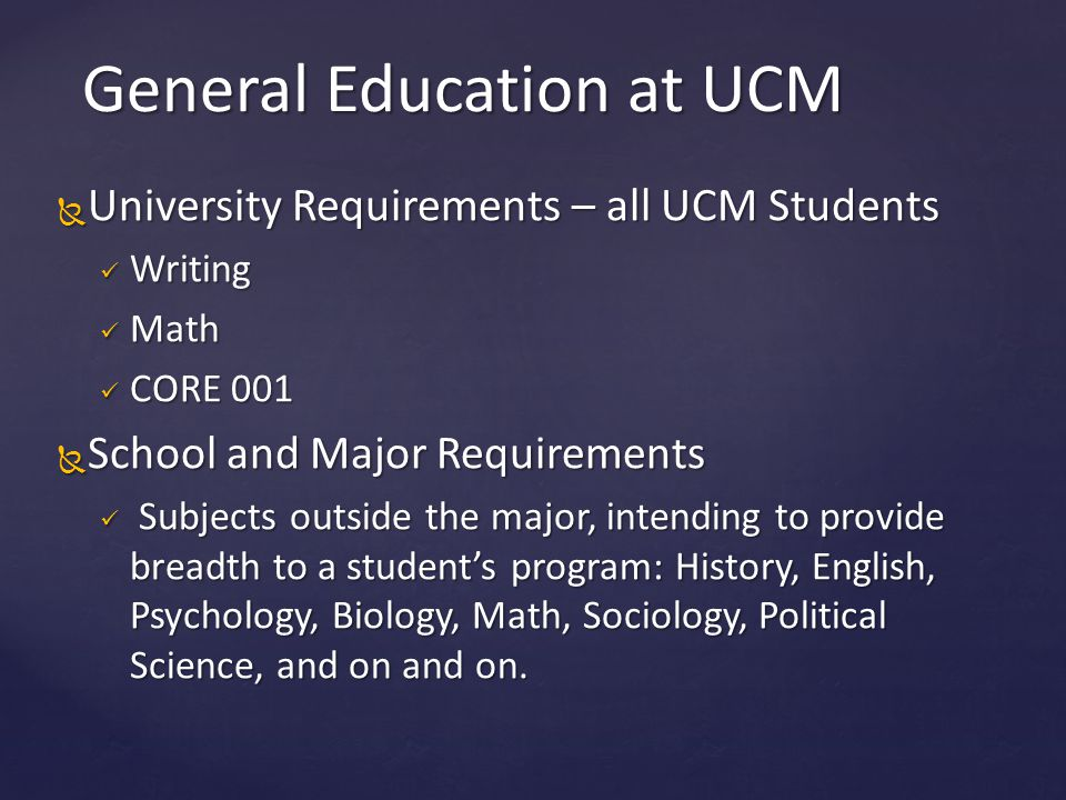 General Education at UCM