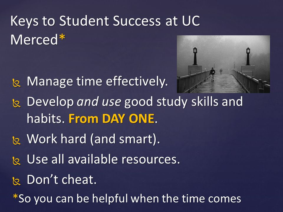 Keys to Student Success at UC Merced*