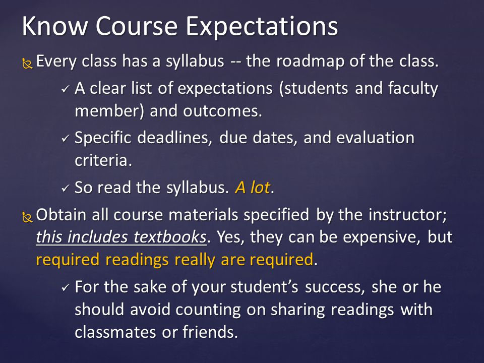 Know Course Expectations