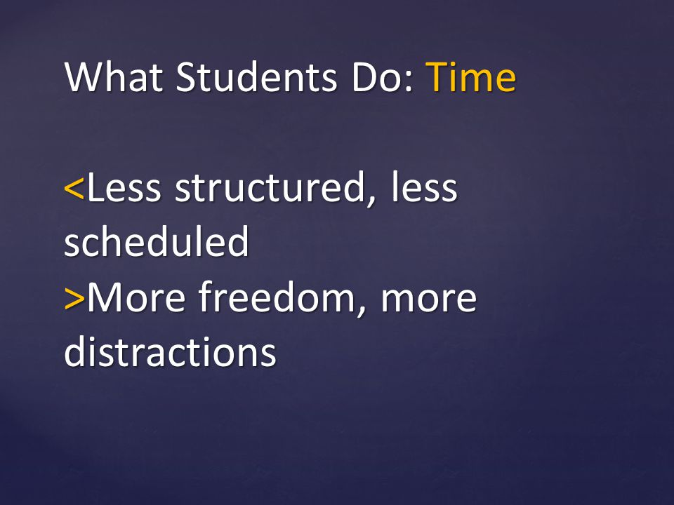 What Students Do: Time <Less structured, less scheduled >More freedom, more distractions