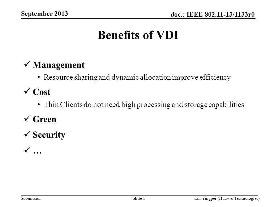 Benefits of VDI Management Cost Green Security …