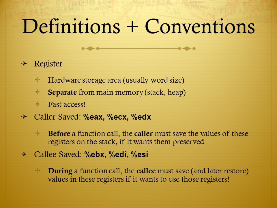 Definitions + Conventions