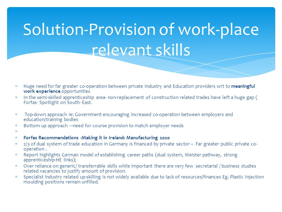 Solution-Provision of work-place relevant skills