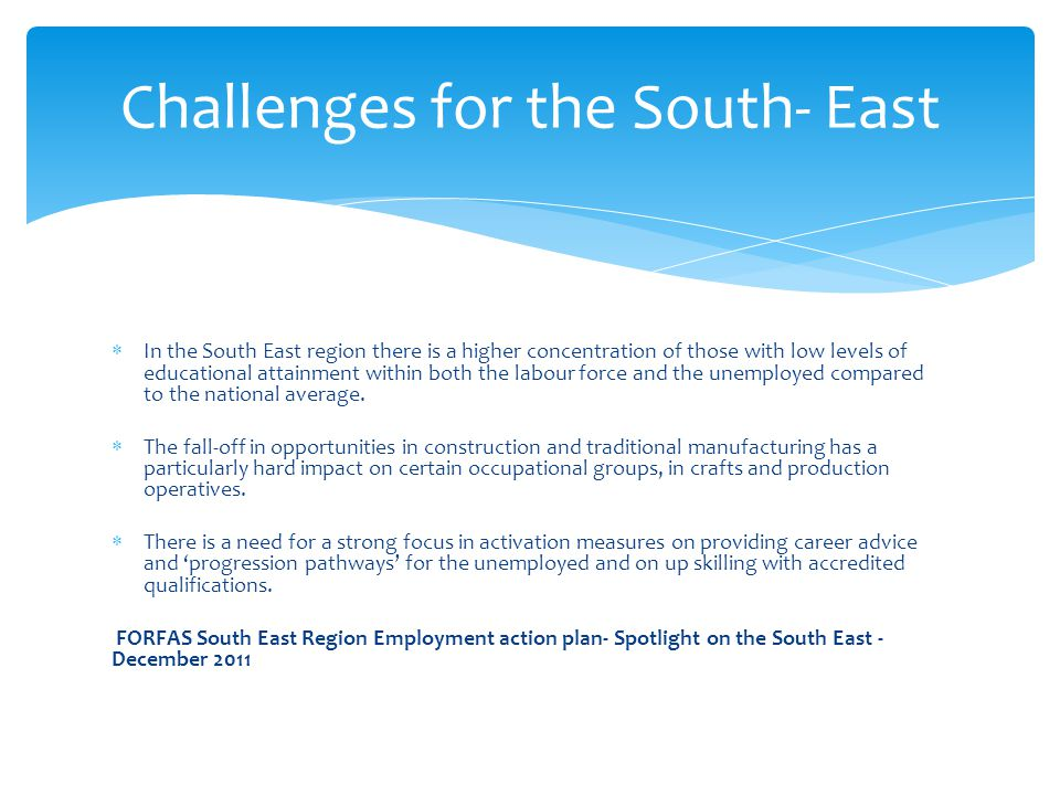 Challenges for the South- East