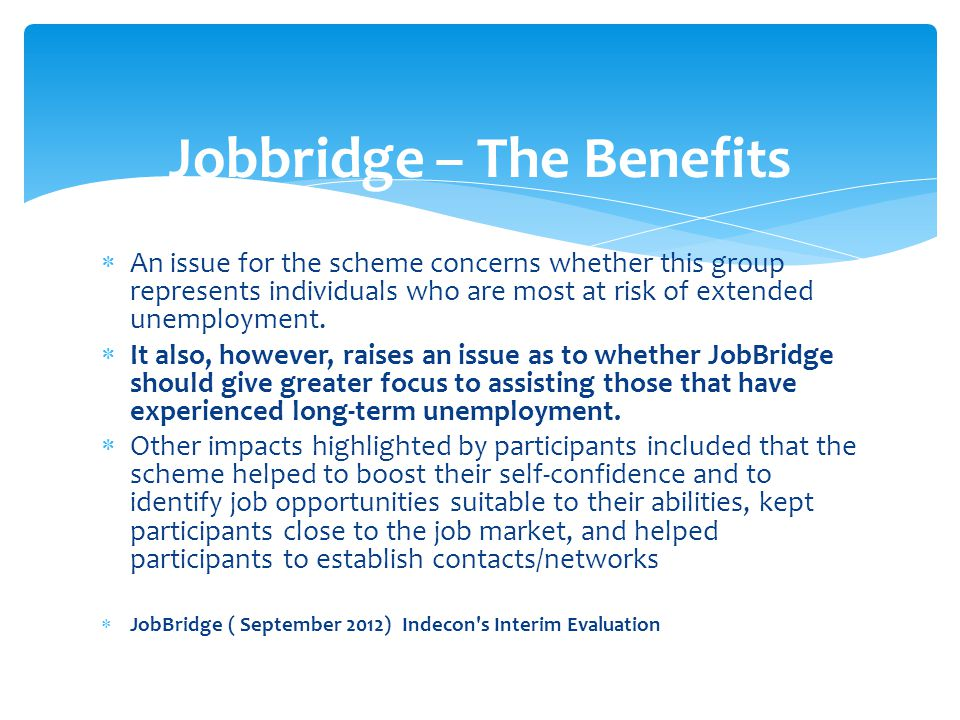Jobbridge – The Benefits