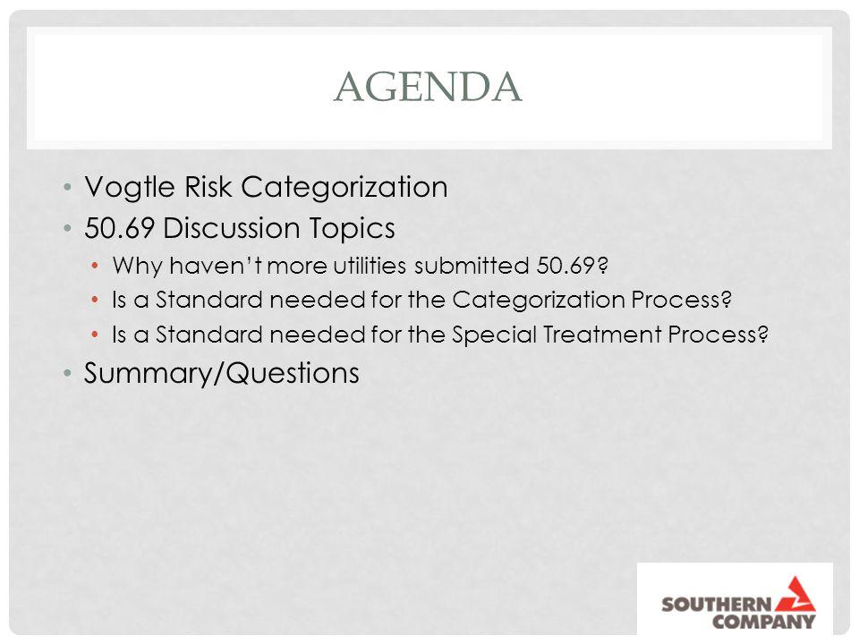 Agenda Vogtle Risk Categorization 50.69 Discussion Topics