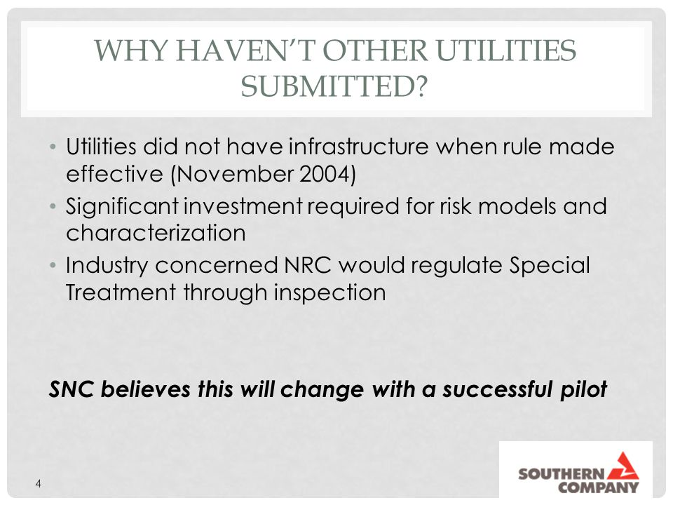 Why haven't other utilities submitted