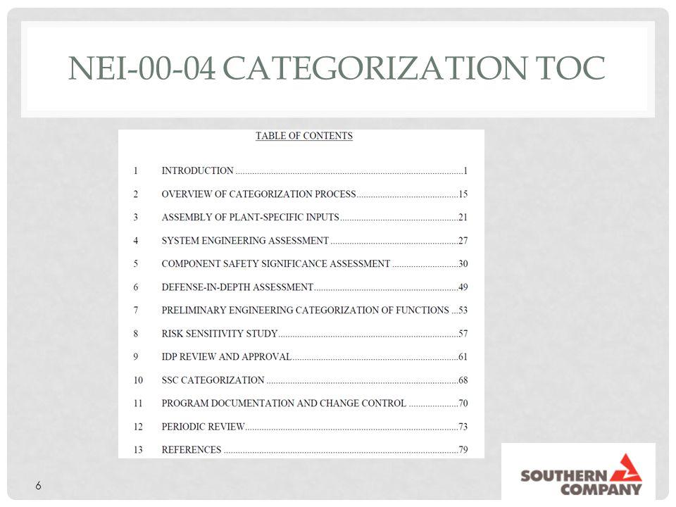 NEI-00-04 Categorization TOC
