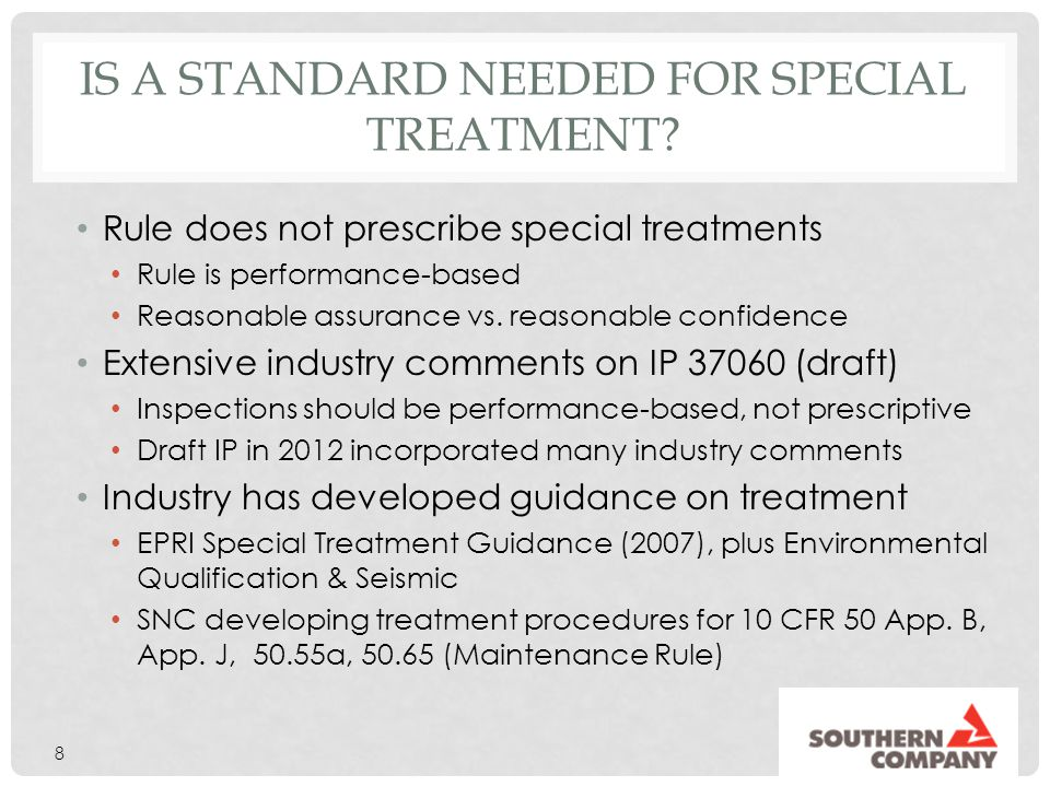 Is a standard needed for Special treatment