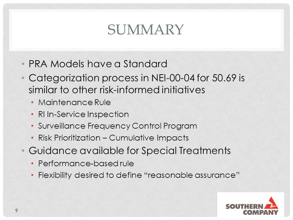 Summary PRA Models have a Standard