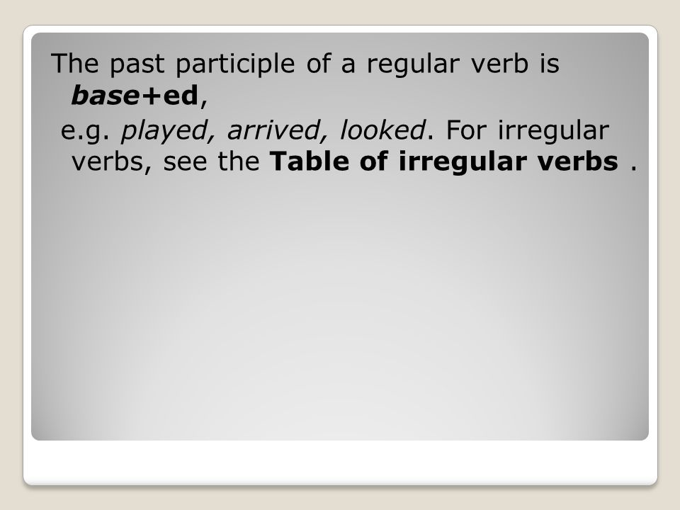 The past participle of a regular verb is base+ed,