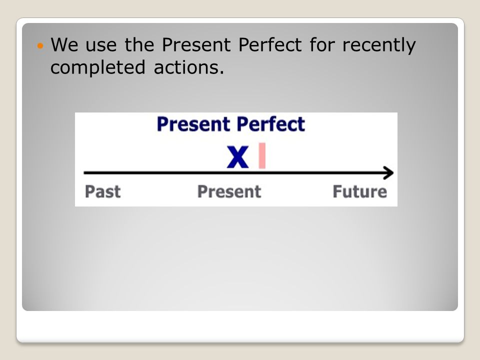 We use the Present Perfect for recently completed actions.