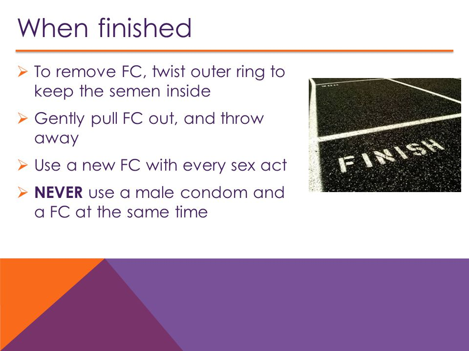 When finished To remove FC, twist outer ring to keep the semen inside