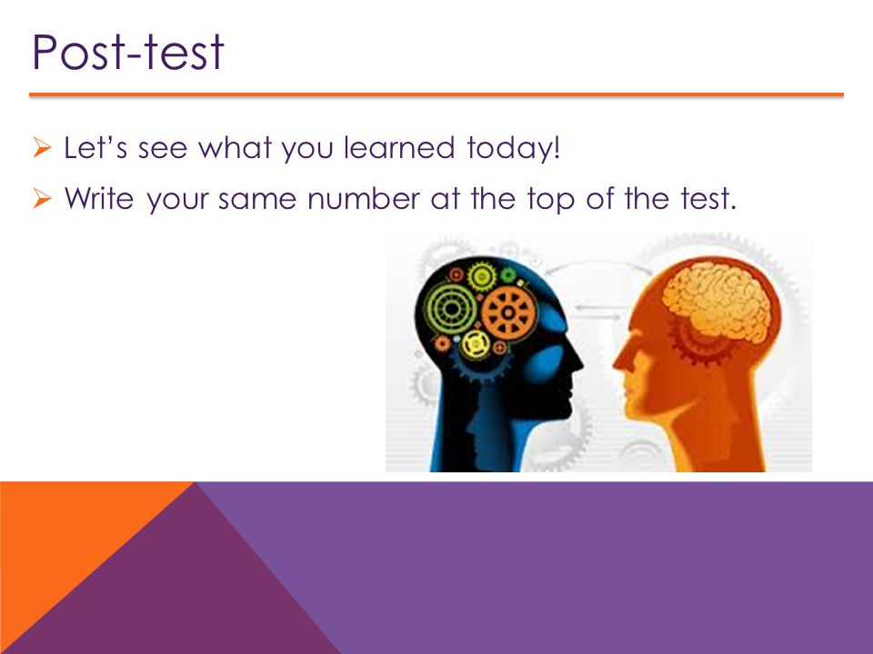 Post-test Let's see what you learned today!