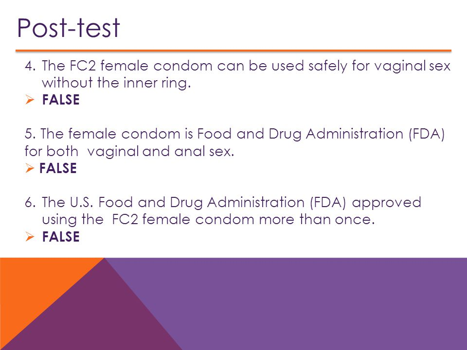 Post-test The FC2 female condom can be used safely for vaginal sex without the inner ring. FALSE.