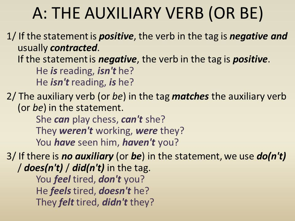 A: THE AUXILIARY VERB (OR BE)