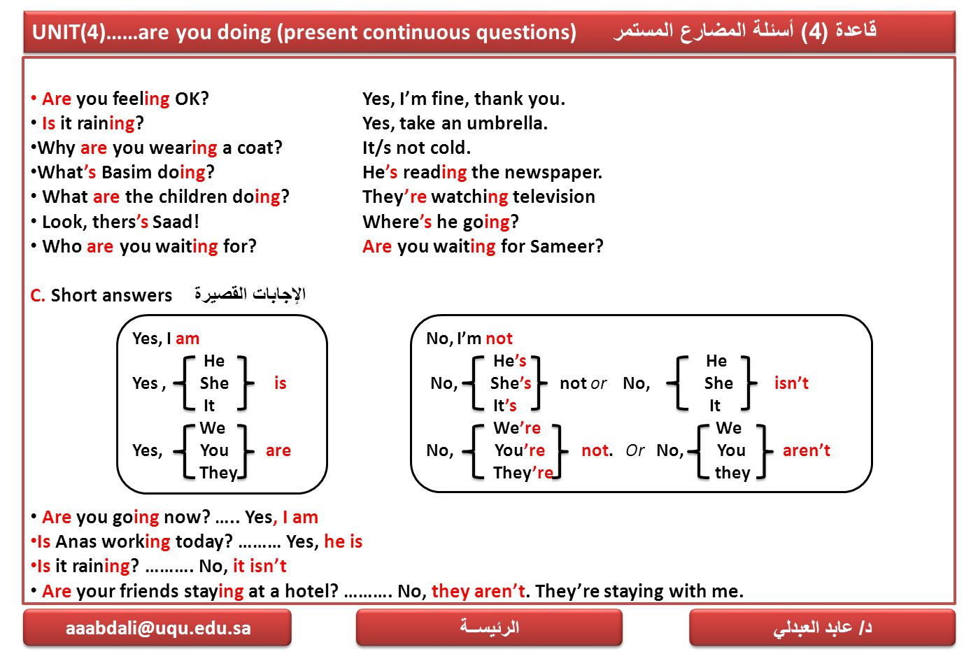 UNIT(4)……are you doing (present continuous questions)