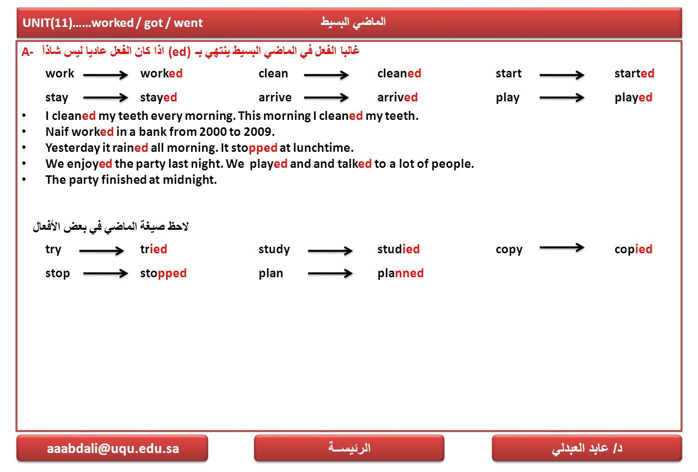 UNIT(11)……worked / got / went الماضي البسيط