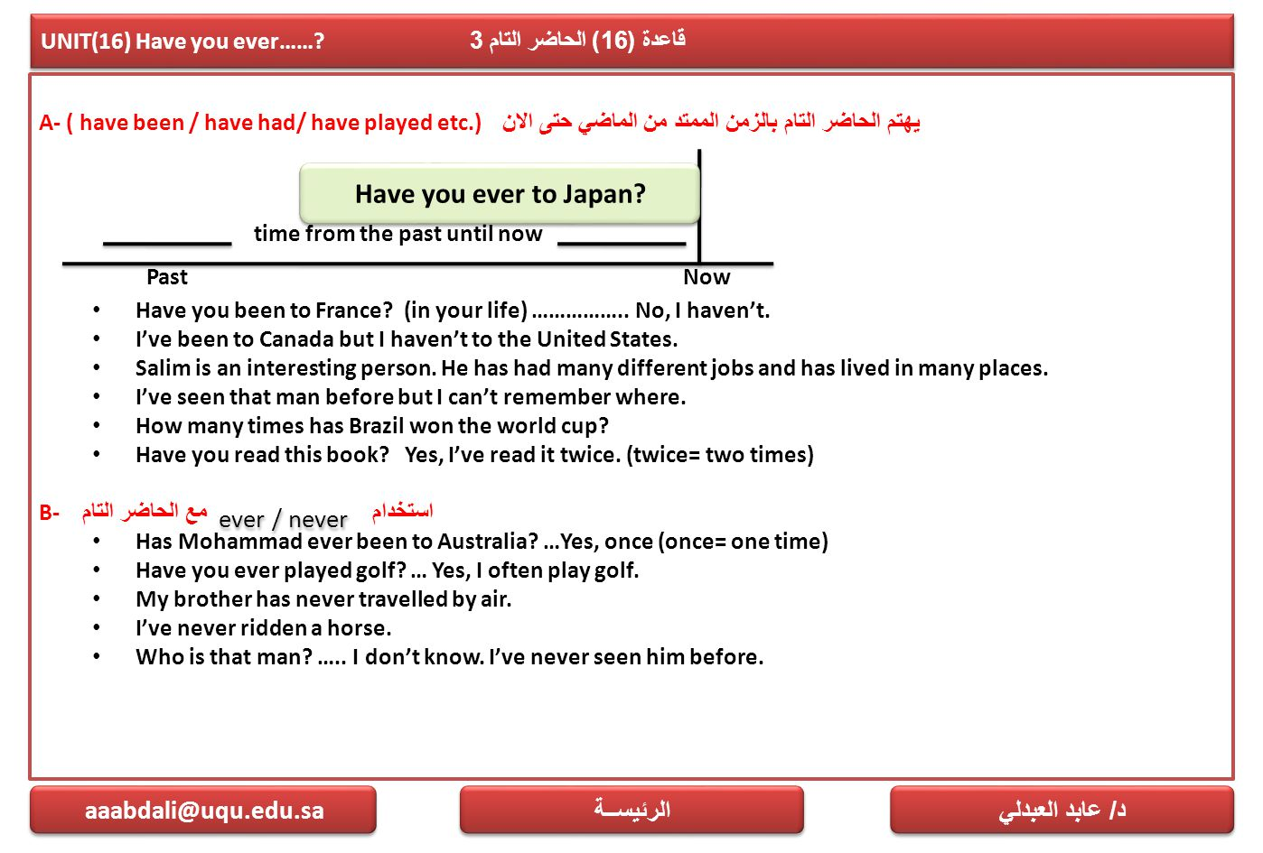 UNIT(16) Have you ever…… قاعدة (16) الحاضر التام 3
