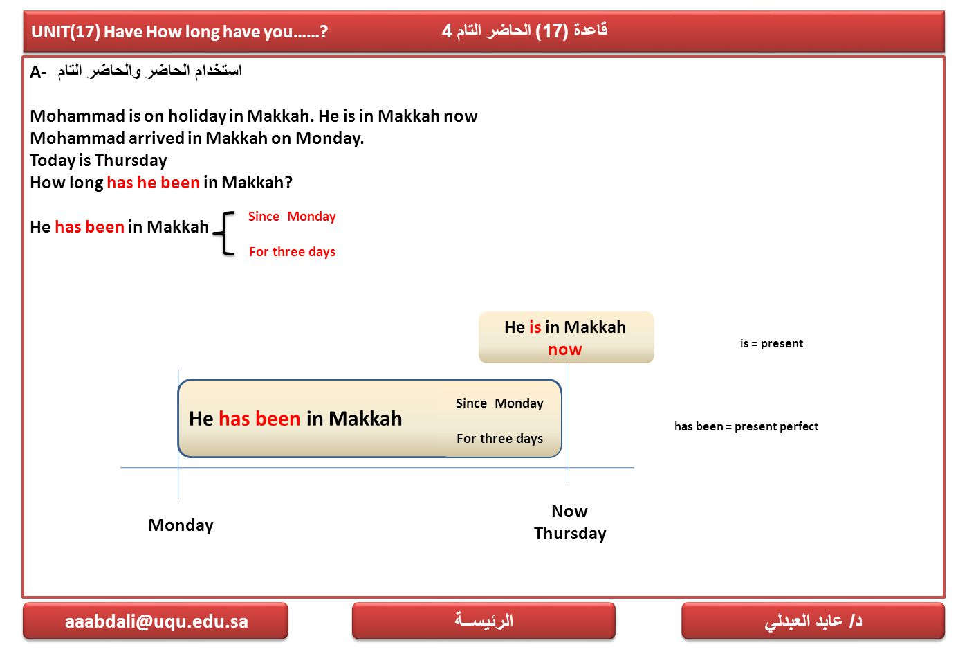 UNIT(17) Have How long have you…… قاعدة (17) الحاضر التام 4