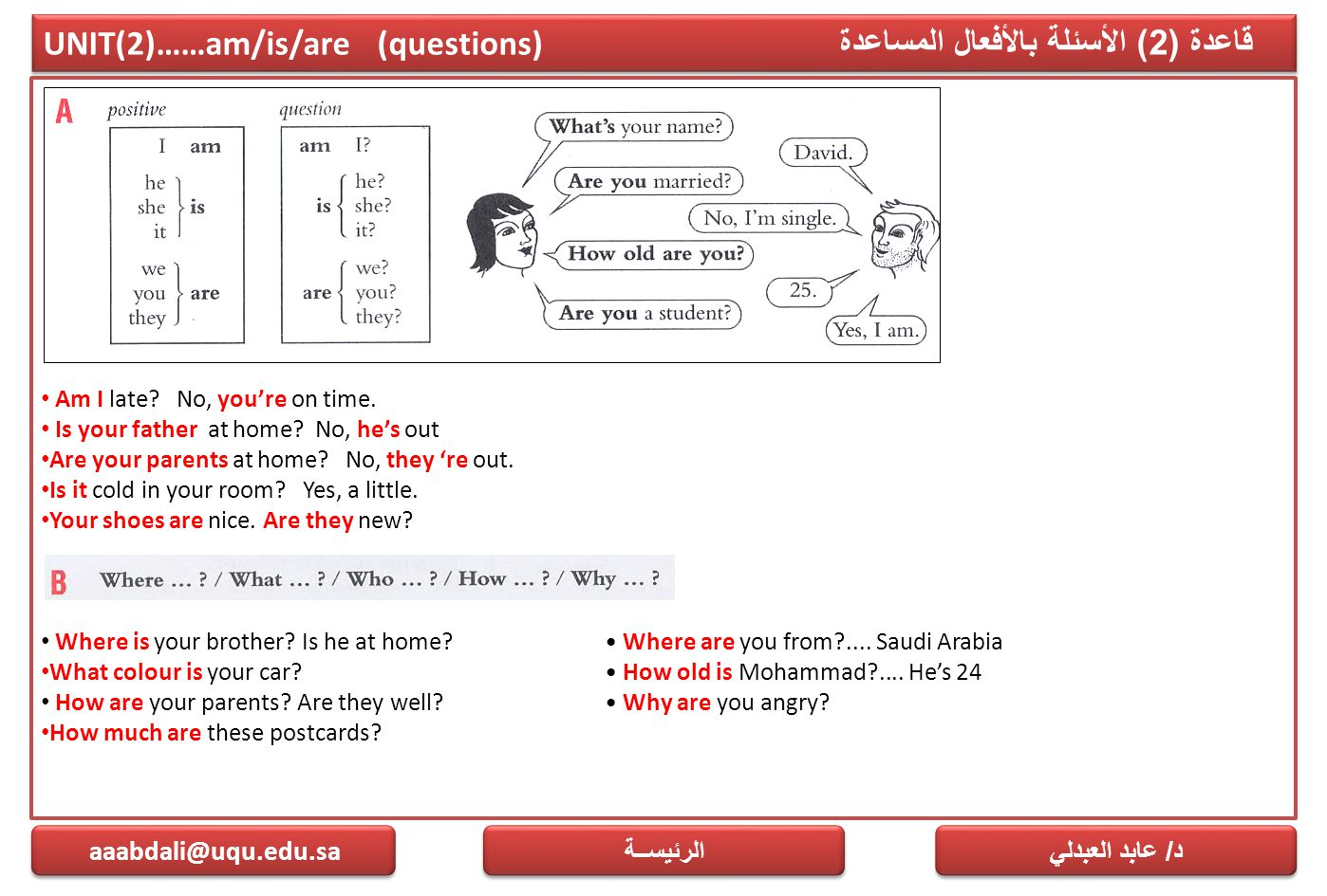 UNIT(2)……am/is/are (questions) قاعدة (2) الأسئلة بالأفعال المساعدة