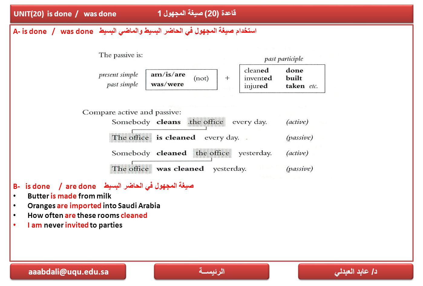 UNIT(20) is done / was done قاعدة (20) صيغة المجهول 1