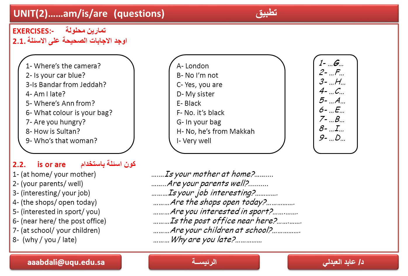 UNIT(2)……am/is/are (questions) تطبيق