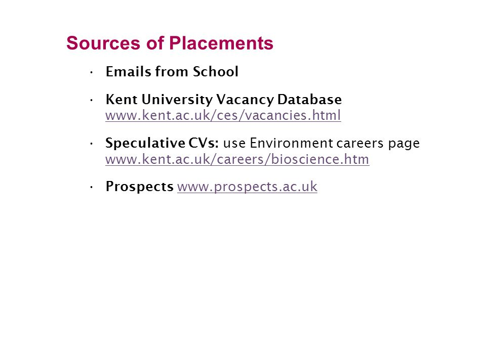 Sources of Placements Emails from School