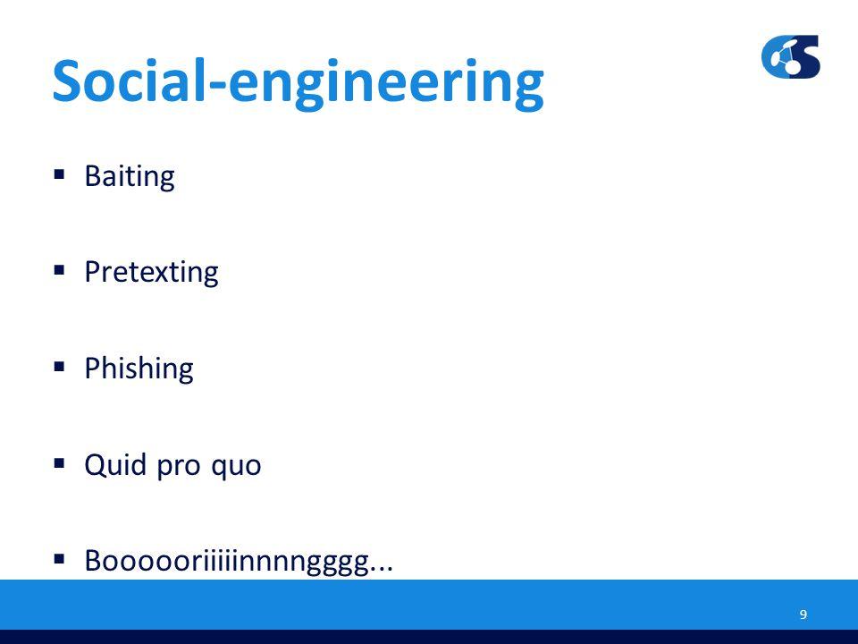 Social-engineering Baiting Pretexting Phishing Quid pro quo