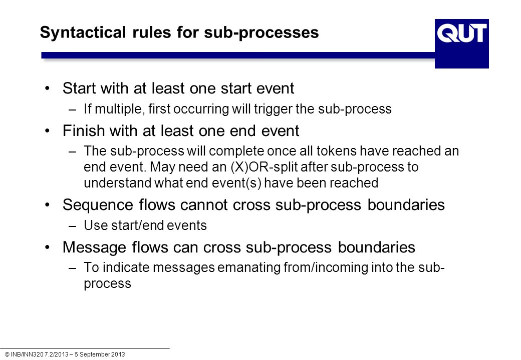 Syntactical rules for sub-processes