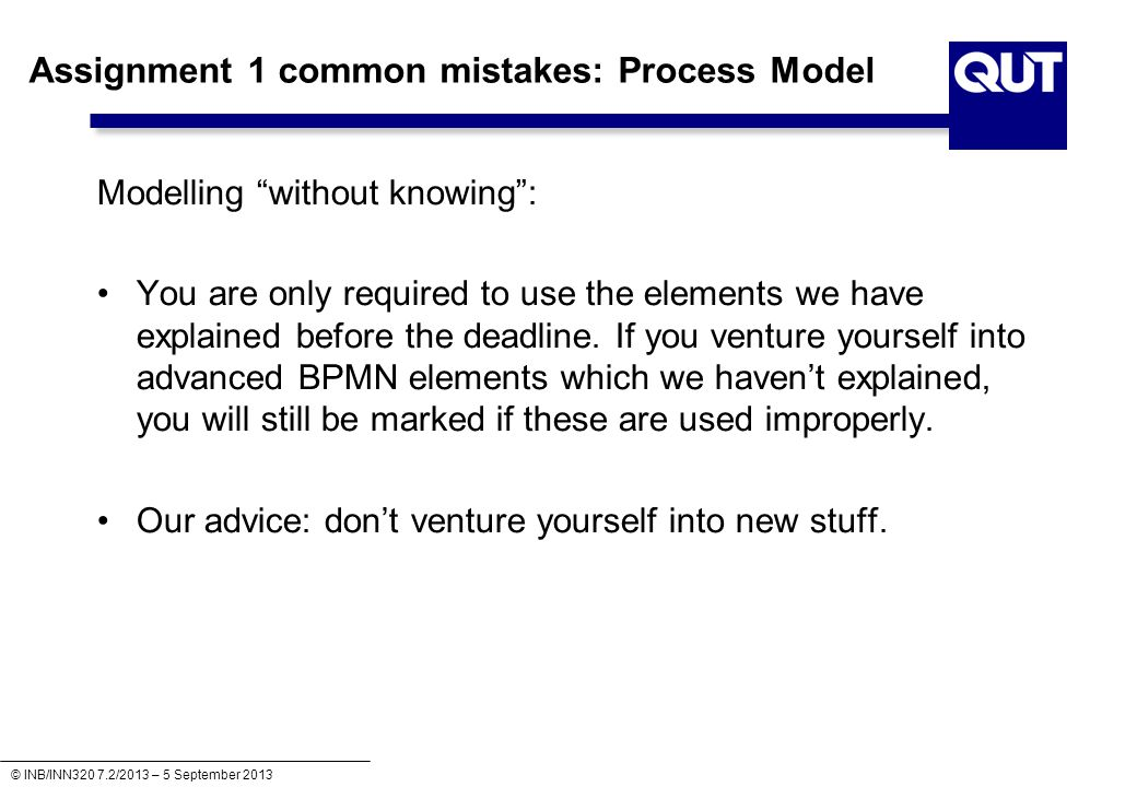 Assignment 1 common mistakes: Process Model