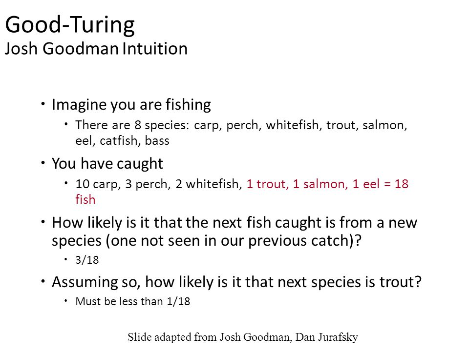 Good-Turing Josh Goodman Intuition