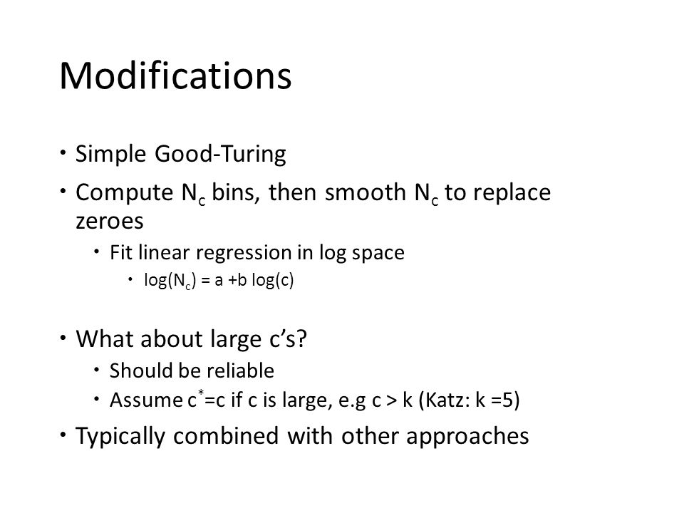 Modifications Simple Good-Turing