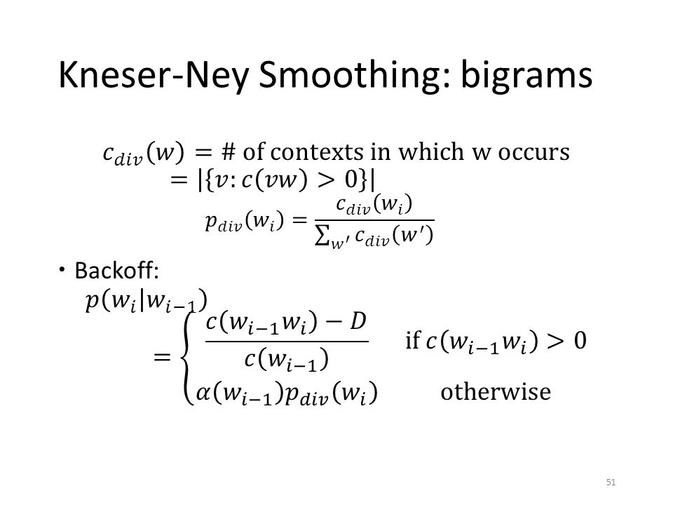 Kneser-Ney Smoothing: bigrams