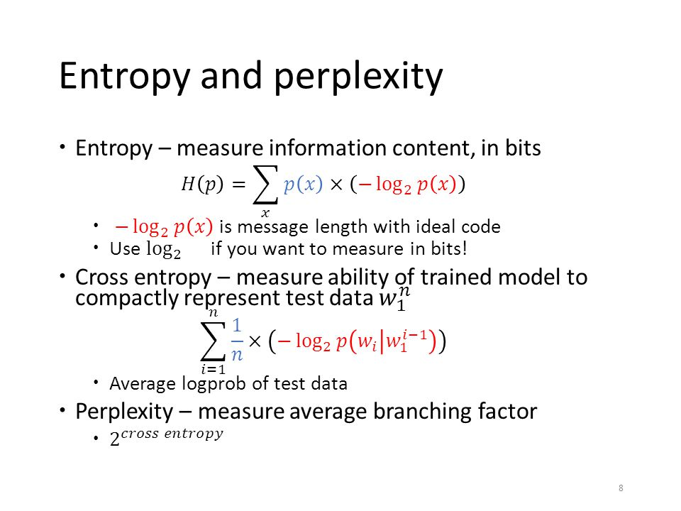 Entropy and perplexity