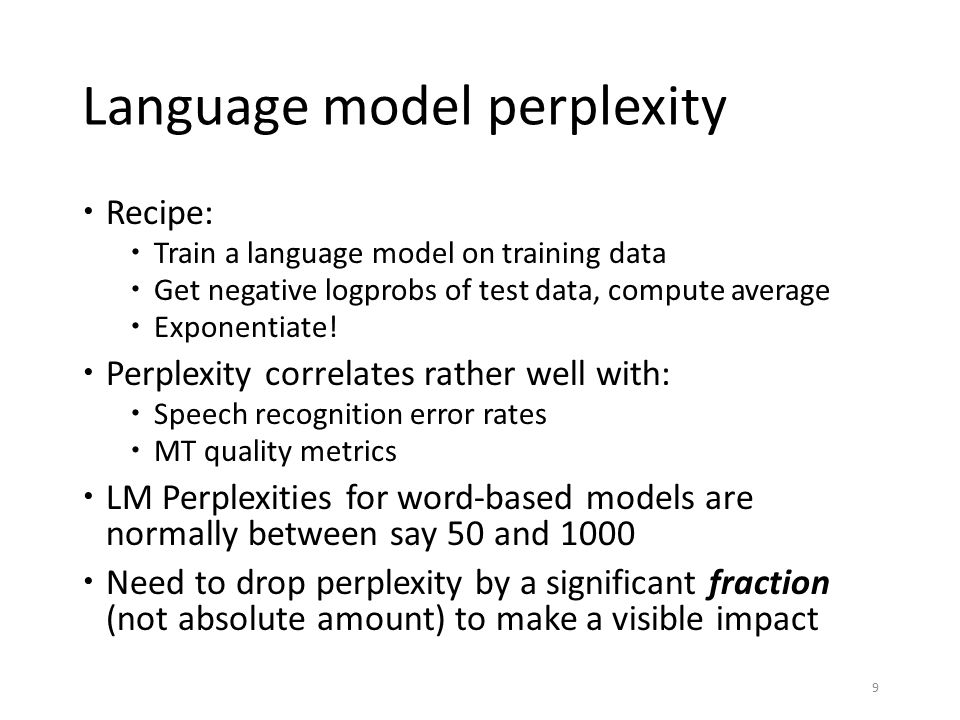 Language model perplexity