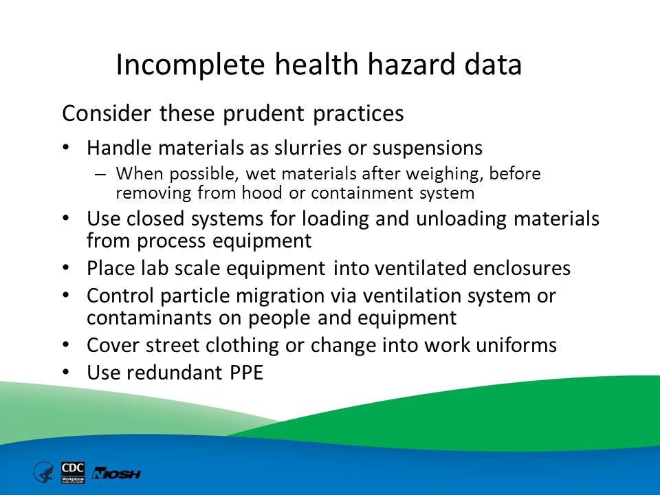 Incomplete health hazard data